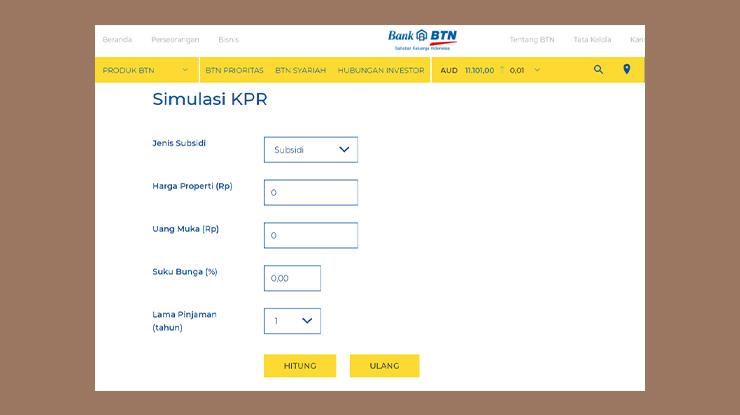 Cara Simulasi KPR Bank BTN Online
