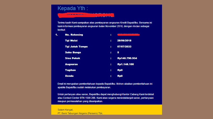 Cek Tagihan KPR BTN Online via Email di PC atau Smartphone