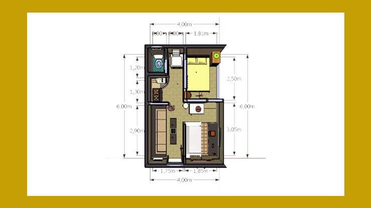 Denah Rumah Ukuran 4x6